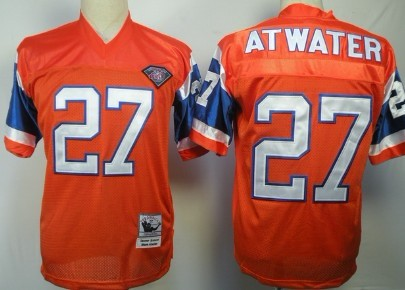 19ab122ab Mitchell&Ness Denver Broncos 27 Steve Atwater Orange 75TH Throwback Jersey