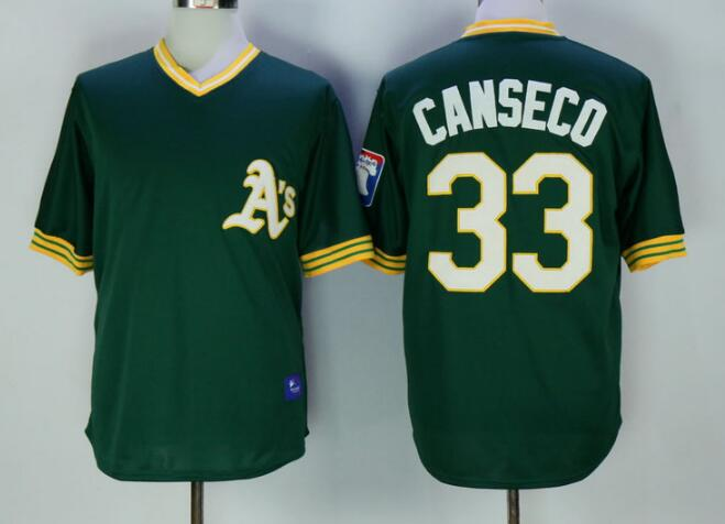 Men's Oakland Athletics #33 Jose Canseco Green Pullover Throwback Stitched MLB Jersey By Mitchell & Ness