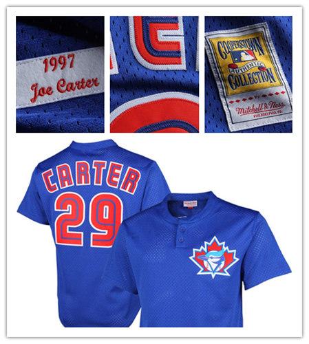c3461be0f3c Men s Toronto Blue Jays  29 Joe Carter Mitchell   Ness Royal Cooperstown Mesh  Batting Practice Jersey