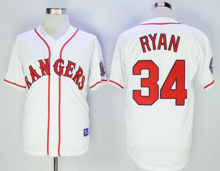7943f369d Men s Texas Rangers  34 Nolan Ryan Retired White Stitched 1995 All-Star  Patch MLB Cooperstown Throwback Jersey