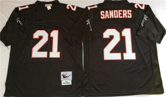 9e0da124 Men's Atlanta Falcons #21 Deion Sanders Black Mitchell & Ness Throwback  Vintage Football Jersey