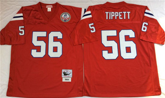 Men s New England Patriots  56 Andre Tippett Red Mitchell   Ness Throwback  Vintage Football Jersey 98ddd9064