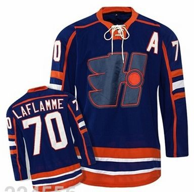 Men s The Movie Goon Halifax Highlanders Classic  70 Xavier LaFlamme Royal  Blue Stitched Ice Hockey Jersey f5ed8806f