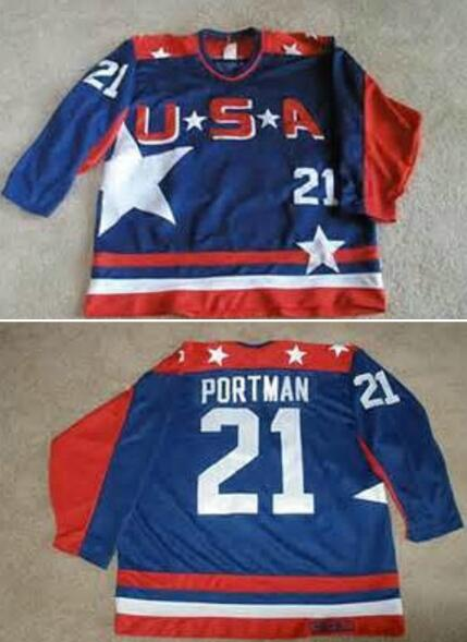1c7e1c732 Men s The Movie The Mighty Ducks  21 Portman Blue Team USA Stitched Ice  Hockey Jersey