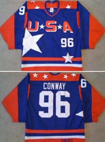 e964c8257 Men s The Movie The Mighty Ducks  96 Charlie Conway Blue Team USA Stitched Ice  Hockey Jersey