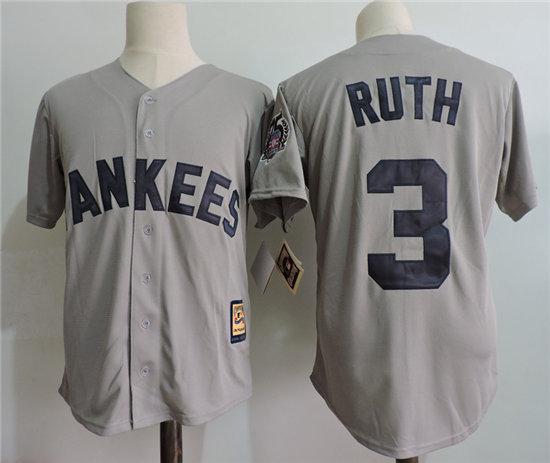 f54cbee04 mlb new york yankees 3 babe ruth gray 75th patch jersey